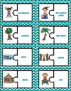 French prepositions activities and posters / Les prépositions en français French Prepositions, Preposition Activities, Dominos, French Worksheets, Receptive Language, Core French, French Grammar, French Classroom, French Resources