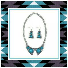 ✳BOGO Turquoise Silver Necklace Earring Set ✳Everything in my closet is temporarily BOGO HALF OFF. See closet sale listing for rules & end date.✳  This necklace and earring set is brand new.  It's gorgeous in person and not cheap looking.  It's costume jewelry but beautiful! If you'd like to see a pic of the actual set, please ask. Don't forget to tag me first, @closetenvy2. Jewelry Necklaces