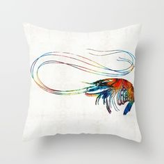 Colorful Shrimp Art by Sharon Cummings<br/> <br/> shrimp, shrimps, crustacean, beach, beachy, beach house, seafood, kitchen, gourmet, crab, crabs, lobster, new orleans, french,french food, fishing, cajun, creole, sea, ocean, tropical, tropical decor, colorful, colorful art, colorful fish, tropical fish, aquarium, underwater, sea life, deep sea fishing, scuba, fun, cute, lively, bright, primary colors, cottage, coastal, coast, coastal living, cafe, food, sharon cummings&...