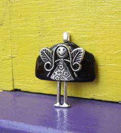 Fused Glass Girl Angel Pendant by PiecesofhomeMosaics on Etsy, $23.00