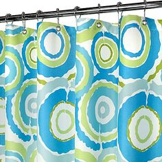 """Park B. Smith® Groovy Circles Blue 72"""" x 72"""" WaterShed® Shower Curtain"""