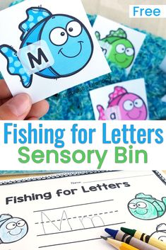 This ocean-themed alphabet sensory bin provides practice matching uppercase and lowercase letters, and even sight words! It's perfect for an ocean theme literacy center in Pre-K and Kindergarten! Ocean Activities, Alphabet Activities, Preschool Alphabet, Alphabet Writing, Alphabet Crafts, Alphabet Book, Alphabet Letters, Learning Activities, Preschool Themes