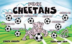 Cheetahs-Pink-151815 digitally printed vinyl soccer sports team banner. Made in the USA and shipped fast by BannersUSA. www.bannersusa.com