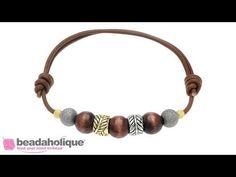 How to make an adjustable leather bracelet using slip knot / sliding knot - YouTube
