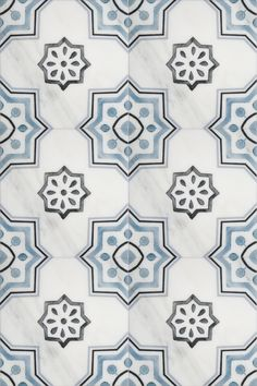 The Chapman pattern on carrara marble is a traditional design that will work both in a modern or classic house. This patterned tile looks amazing as bathroom floor tile or as a kitchen backsplash in your home. Also available on a travertine or limestone