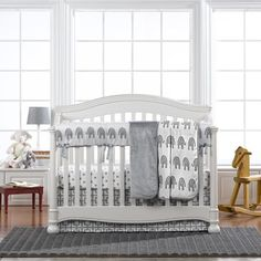 Gray Elephant Bumperless Crib Bedding
