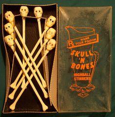 Vintage Hard Plastic Skull Stirrers