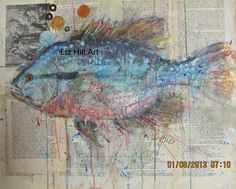 Liz Hill fish painting on antique Dutch Bible page