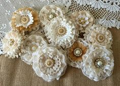 10 shabby chic vintage lace handmade flowers approximately 2.5'' - 3.5'' ***Shabby chic lace flowers are perfect for…