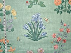 Scalamandre fabric aqua botanical floral butterfly from Brick House Fabric: Novelty Fabric