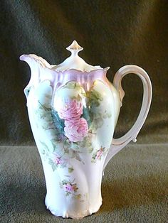 Antique RS Germany Porcelain  Chocolate Pot w/ Sponged Roses - or Teapot Coffee Pot