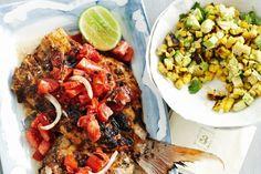 Shaken fish with tomato salsa & corn salad