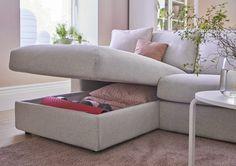 VIMLE 4-zitsbank met chaise longue   IKEA IKEAnl IKEAnederland inspiratie wooninspiratie interieur wooninterieur bank zitbank nieuw kamer woonkamer sofa modulair veelzijdig opbergen opberger persoonlijk beige