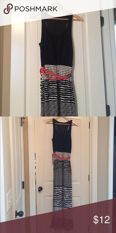 Maxi dress with belt. Super cute and comfortable black and white maxi dress. Comes with pink belt. Top is a black lace. Dresses Maxi