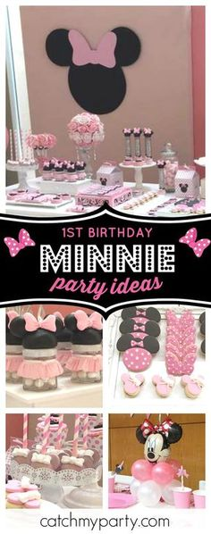 Don't miss this pretty Minnie Mouse 1st birthday party! The dessert table is so pretty!! See more party ideas and share yours at CatchMyParty.com #minniemouse #1stbirthday