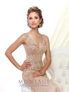 Sleeveless hand-beaded tulle trumpet gown with front and back V-necklines, dropped waist, sweep train. Matching shawl included. Sizes: 4 – 20 Colors: Rose/Gold,Dark Gray