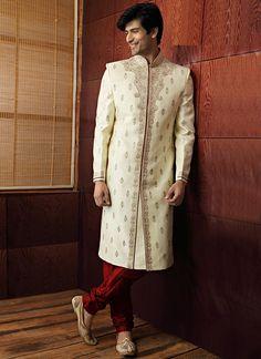 Luring Cream Benarasi Silk Jacquard Sherwani