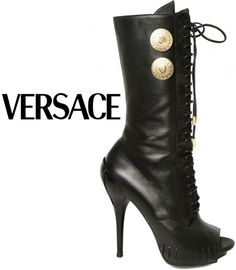 Black Leather with double gold buttons by Versace. versace, alexander mcqueen, fashion chic, fashion bag, leather boots, fashion idea, street styles, fall boots, shoe