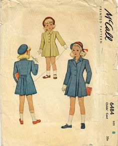 1940s Vintage McCall Sewing Pattern 6484 Little Girls Princess Cut Coat Size 8