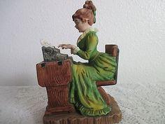 Vintage Geo Z Lefton Victorian Secretary Typist Figurine Lady Typing Porcelain