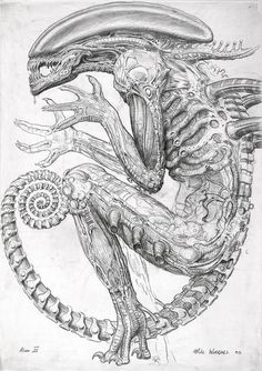 Never-Before-Seen Sketches That Inspired the Birth of Alien | Mike Worrall produced this 1990 concept drawing of the xenomorph for Alien3.  TM