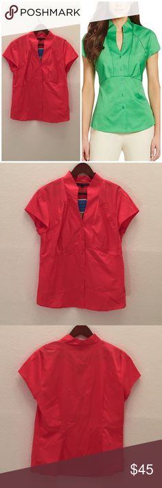Antonio Melani Tiffany V-Neck Blouse From Antonio Melani Playing Favorites, the Tiffany blouse features: stretch sateen V-neckline with wing collar; button front short sleeves peaked waist seam shirttail hem woven cotton ANTONIO MELANI Tops Button Down Shirts