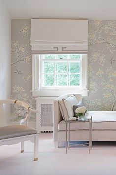 Outside Mount Roman Shade with banding detail | Laura Tutun Interiors
