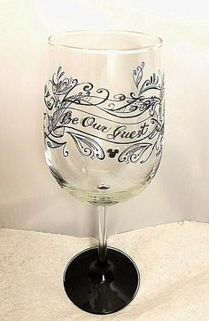 Disney Parks Be Our Guest Chalkboard Stemmed Red Wine Glass New