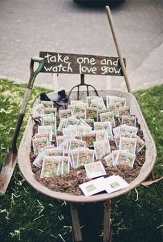This is a cute wedding favor! People can plant the seeds to see love grow ~A
