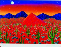 """Desert Sunset"" (unframed: 7 x 10 inches) US$29 by Joanne Netting available wholesale, worldwide (free shipping), from the artist; email: jnetting2@bigpond.com. This is a limited edition signed mini print reproduced from an original acrylic on canvas painting. © Joanne Netting 1993. #art"