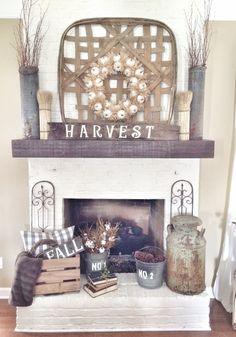 Rustic fall fireplace in neutrals. #falldecor homechanneltv.com