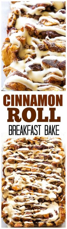 Cinnamon Roll Breakfast Bake - this is made from scratch, no canned cinnamon rolls. Who wouldn't want to wake up to this? the-girl-who-ate-...