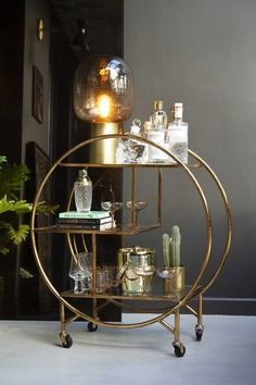 Circular Art Deco 3-Tier Drinks Trolley