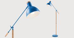 Cohen Floor Lamp, Memphis Blue and Natural Oak