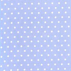Michael Miller Tea Room Fabric White Polka Dots Dot on Periwinkle Blue Lavender, 1 yard + 1 FQ