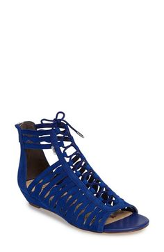 Free shipping and returns on Sam Edelman Daleece Lace-Up Sandal (Women) at Nordstrom.com. With its soft suede construction, chic low wedge and peekaboo sides, this peep-toe sandal is a shoe-in for your favorite of the season.