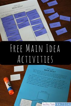 Activities to help teach main idea so that your students actually understand. Can be used as cut and paste centers or whole group instruction for 3rd grade, 4th grade, or 5th grade students. Blog post shares several ideas and has free printables.