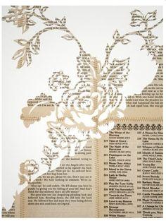 """Sweet Torment (Sorrel VIII),"" Lauren Scanlon. Hand cut romance novel book pages and gold thread on paper."