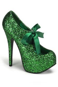 Green Glitter Satin Lace Up Ribbon Platform Pump Heels