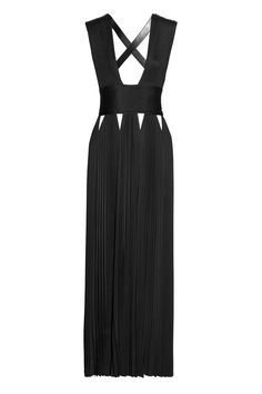 Givenchy|Leather-trimmed jersey gown with cutouts|NET-A-PORTER.COM