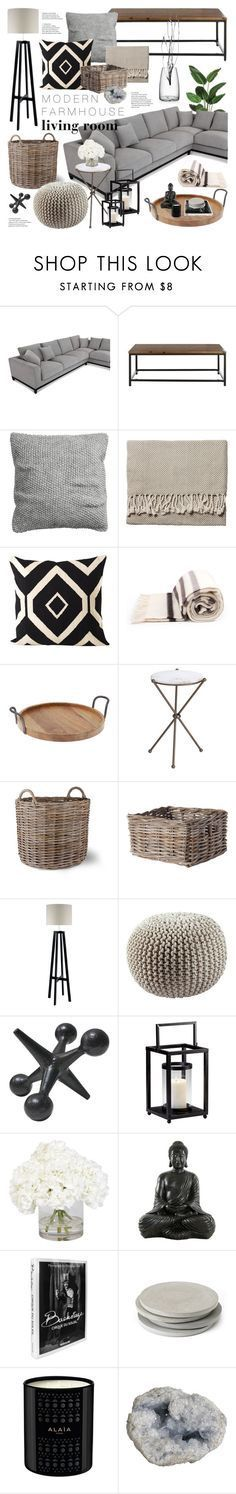 """Modern Farmhouse Living Room"" by emmy ❤ liked on Polyvore featuring interior, interiors, interior design, home, home decor, interior decorating, H&M, Serena & Lily, Hudson's Bay Company and Thirstystone"