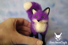 Purple fox by SaniAmaniCrafts Needle felted miniature #needlefelted #SaniAmaniCrafts