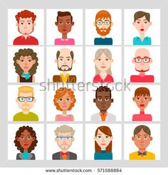 Male and female avatar set. Vector illustration. Hair, glasses and earrings are isolated and interchangeables.