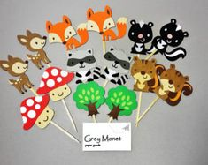 12 Woodland Forest Themed Animal Cupcake by ScrapsToRemember