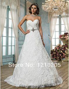 Free Shipping A-line/Princess Sweetheart Sweep/Brush Train Lace And Satin Wedding Dress 1441244 $179.99