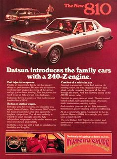1977 Datsun 810 original vintage advertisement. Datsun introduces the family cars with the 240-Z engine. Available in sedan or station wagon format with unibody steel construction, available automatic transmission, air and automatic maintenance warning systems.