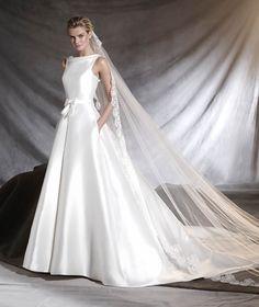 OTILIA - Vestido de noiva de mikado, renda e decote em barco