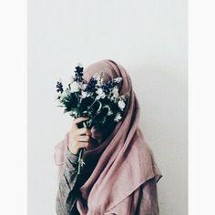 flower, hijab, islam, muslim, peace