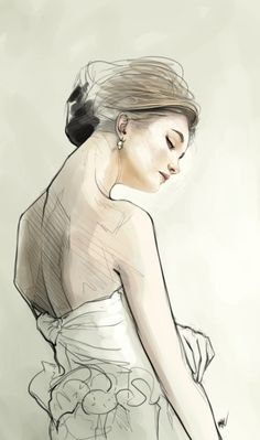 Subtle illustration of girl wearing evening dress, viewed from the back. #fashion illustration