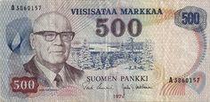 Kekkonen 500 markan setelissä vuodelta 1975. Money Notes, East Germany, Finland, History, Banknote, Paper, Products, Seals, Money